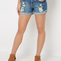 Destroyed High Waist Midi Jean Short | Jean Shorts | rue21