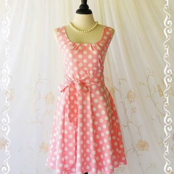 My Lady Pink Blush Polka Dot Sundress Vintage Style Spring Summer Dresses Tea Dress Party Dress Garden Party Dress Bridesmaid Dresses XS-XL