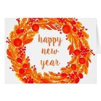 Happy New Year Winter Wreath Greeting Cards