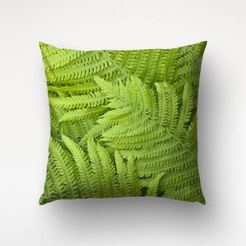 Fern Pillow, Nature Photography, Green Leaves Case, Nature Decor, Chair Pillow