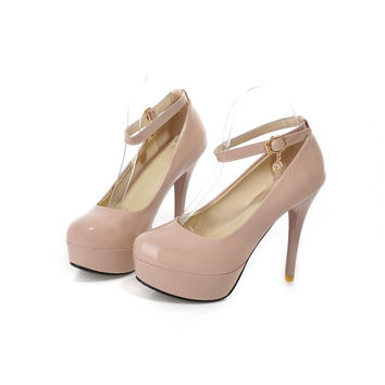 Womens Classy Ankle Strap Pump High Heels