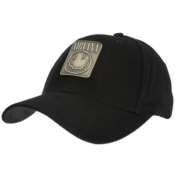 Nirvana - Metal Badge Fitted Baseball Cap