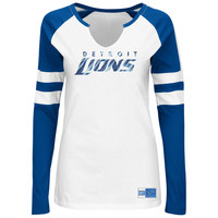 Majestic Detroit Lions Women's White Coin Toss V-Notch Long Sleeve T-Shirt