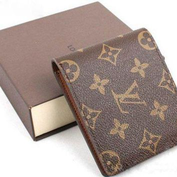 LV Louis Vuitton Stylish Unisex Tartan Print Folding Leather Purse Wallet High Quality I