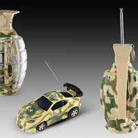 "2.7"" Mini RC Camouflage Grenade Car (Yellow)"