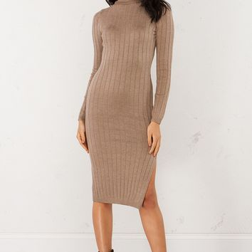 Ribbed Turtleneck Sweater Dress in Mocha and Olive
