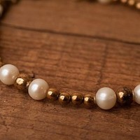 Pearl and Bronze beaded bracelet