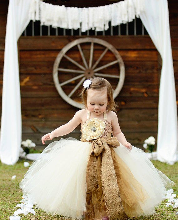 Rustic dream ivory flower girl tutu dress from for Country wedding flower girl dresses