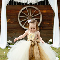 Rustic Dream-Ivory flower girl tutu dress with removeable satin singed flower and burlap sash/bow perfect for Rustic/Country Weddings