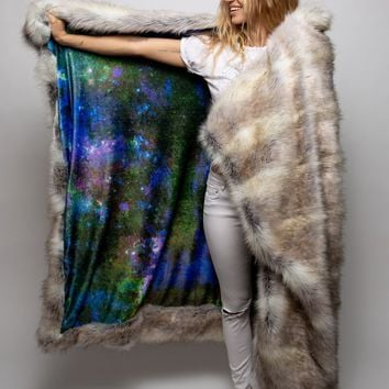 Timber Wolf Galaxy Faux Fur Throw