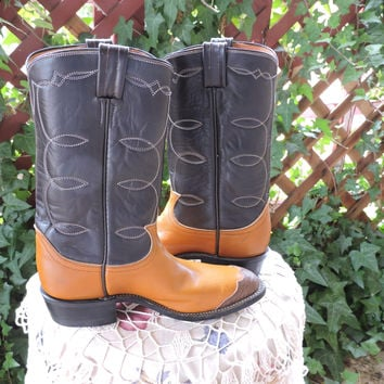 Vintage Tony Lama boots / youth size 3.5 B / kids unisex two toned brown / never worn cowboy western boots / SunnyBohoVintage