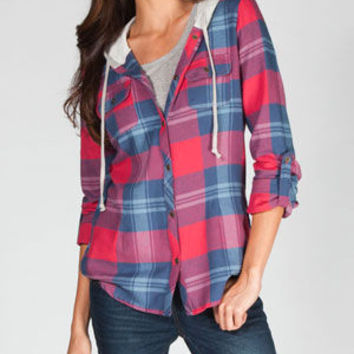 Dolled Up Womens Hooded Flannel Shirt Multi  In Sizes