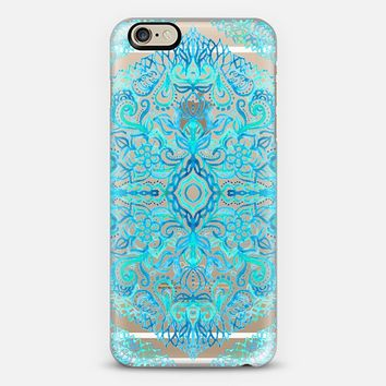 Watercolor Lace Doodle in Turquoise & Aqua on Transparent iPhone 6 case by Micklyn Le Feuvre   Casetify