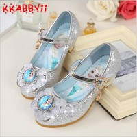 KKABBYII Children Leather Sandals Child High Heels Girls Princess Summer Elsa Shoes Chaussure Enfants Sandals Party Anna Shoes