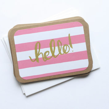 Hand Lettered Note Cards - Hello in Pink Stripes