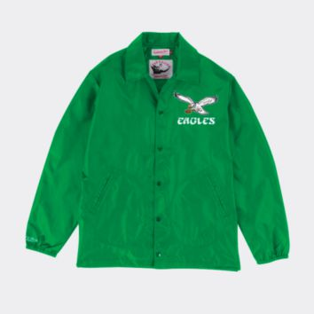 Mitchell & Ness Philadelphia Eagles Mens Coaches Jacket in Green