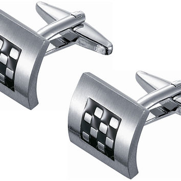Black Enamel and Stainless Steel Checkerboard Cufflinks