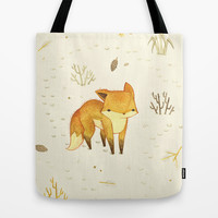 Lonely Winter Fox Tote Bag by Teagan White | Society6