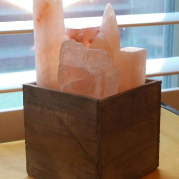 New size!! CrystaLux™ Himalayan Salt Crystal Collection and display light box lamp
