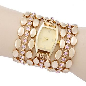 Women's Casual Fashion Stylish Gold Tone Steel Bracelet Quartz creative watch