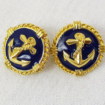 vintage 80s navy GOLD ANCHOR oversized large EARRINGS nautical sailor novelty costume jewelry