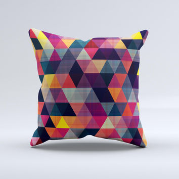 Vector Triangular Coral & Purple Pattern Ink-Fuzed Decorative Throw Pillow