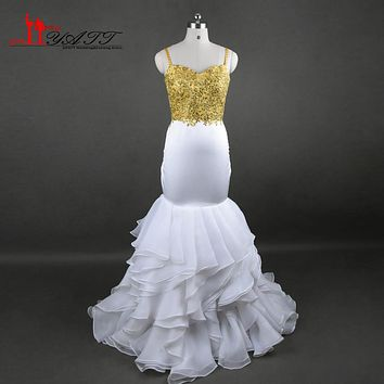 Sexy Fashion Mermaid Prom Dresses 2017 Sparkly Gold Appliqued Sequins Organza Ruffles Sweep Train Evening Party Gowns LY622