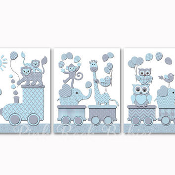 Nursery decoration wall decor for kids room artwork baby boy wall art blue grey train with animals elephant giraffe owl poster shower gift
