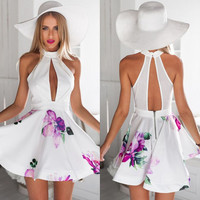 Floral Halter Neck Cutout Mini Skater Dress