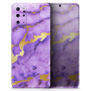 Purple Marble & Digital Gold Foil V1 - Skin-Kit for the Samsung Galaxy S-Series S20, S20 Plus, S20 Ultra , S10 & others (All Galaxy Devices Available)