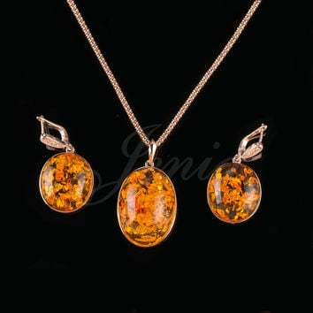 JENIA Unique Beautiful Yellow Amber Design Jewelry Sets Retro Round Drop Earrings and Pendant Set Gold Plated XS182