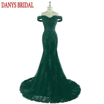 Emerald Green Long Lace Mermaid Evening Dresses Party Women 2018 Beaded Formal Evening Gowns Dresses Wear robe de soiree longue
