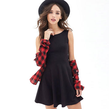 Solid Deep  V Halter  Bow Back Skater Dress