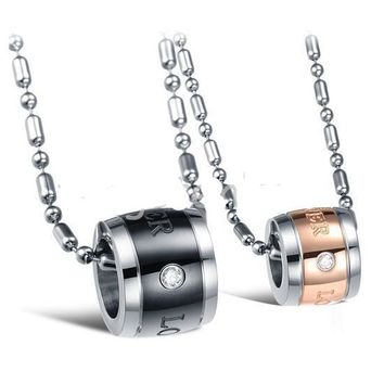 "Valentine Couples ""Forever Love"" Stainless Steel Cylinder Pendant Necklaces"