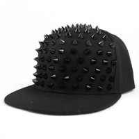 LOCOMO Men Women Punk Rock Hip Hop Hedgehog Black Rivet Stud Spike Spiky Hat Cap Baseball FFH021 Black