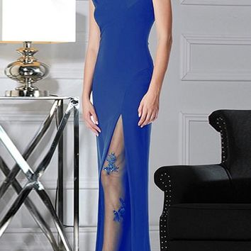Blue Patchwork Grenadine Sequin Slit Prom Evening Party Maxi Dress