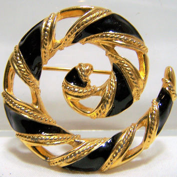 Anne Klein Black Enamel and Gold Tone Pin, Spiral Pinwheel Design Brooch. Fashion Designer Vintage Jewelry, Costume Jewellery 417