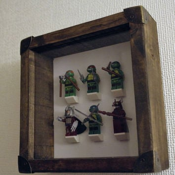 Vintage frame - TMNT - Teenage Mutant Ninja Turtles - minifigures - Leonardo, Raphael, Michelangelo, Donatello, Splinter & The Shredder