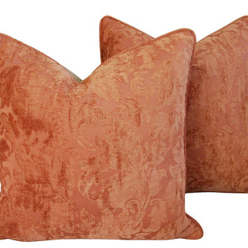 French Velvet  & Linen Pillows,   Pair