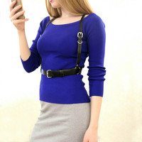 Women Sweater slit neckline Strapless Sweater thickening