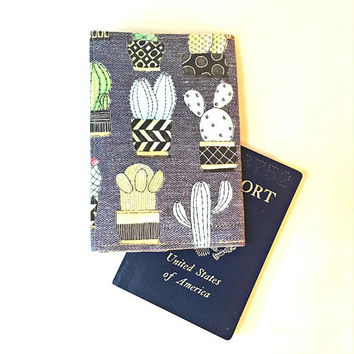 Succulent Passport Cover, Passport Holder, Passport Wallet, Passport Case, Cactus Passport Cover, Passport Holder Women Fabric Passport Case