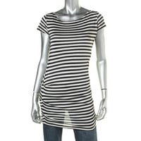 Rachel Roy Womens Sheer Striped Pullover Top