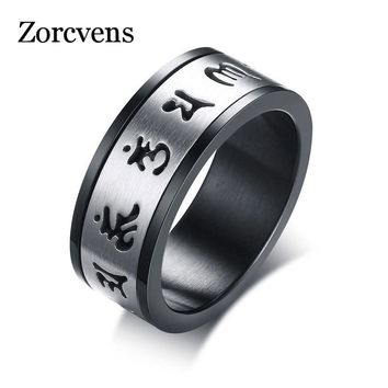 ZORCVENS Unique Spinner Om Mani Padme Hum Ring For Men Stainless Steel Mantra Buddhism Ring Party Anniversary jewelry