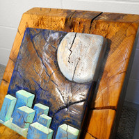 Timber Carving, Free Standing Oak Carving City under Blue Moon Light, Oil Painting of City, Moonlight Oil Painting, Geometric Shape Art