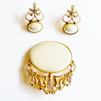 Vintage Brooch and Earrings Set Bold Statement Wedding Jewelry Bridal Sash Jewellry Party Prom Opera