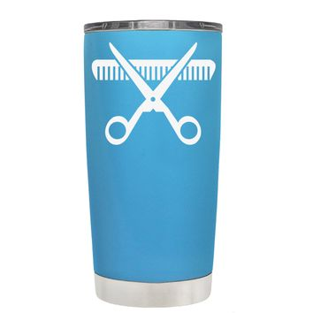 HairStylist Scissor and Comb Silhouette on Baby Blue 20 oz Tumbler Cup