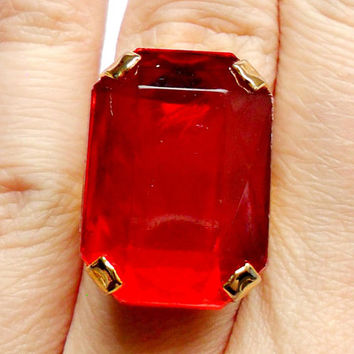 Vintage Red Lucite Gem Ring - Adjustable Band - Gold Tone Metal - Emerald Cut - Big Large - Acrylic Plastic - Costume Cocktail Statement