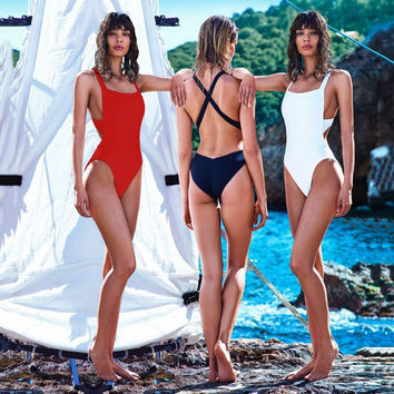 Sexy Trikini Swim Suits New Trikinis For Women Swimwear Cross Wrap Black White Bodysuits High Cut One Piece Swimsuits -0401