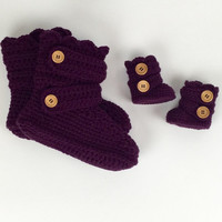 Mommy and Baby Crochet Plum Slipper Boot Set by StardustStyle