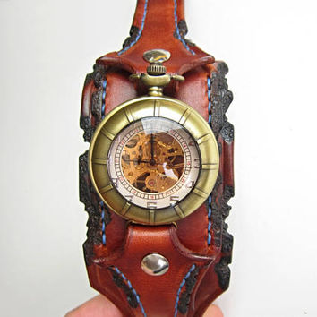 Mens Wrist Watch , Steampunk Pocket  Watch, Leather Watch Cuff, Men's Leather Cuff, Bracelet Watch